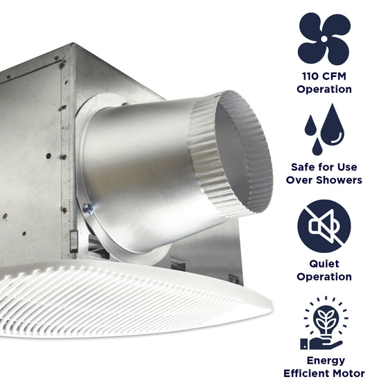Features of the NXSH110 include 110 CFM operation, safe for installation over showers, quiet operation, and an energy efficient motor.