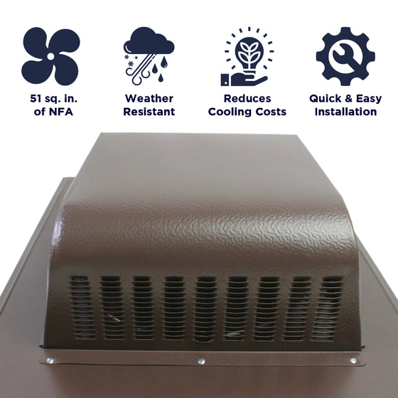 Features of the SBV 603 slant back vent include 51 sq. inches of net free air, weather resistant construction, reduction of cooling costs, and a quick and easy install.