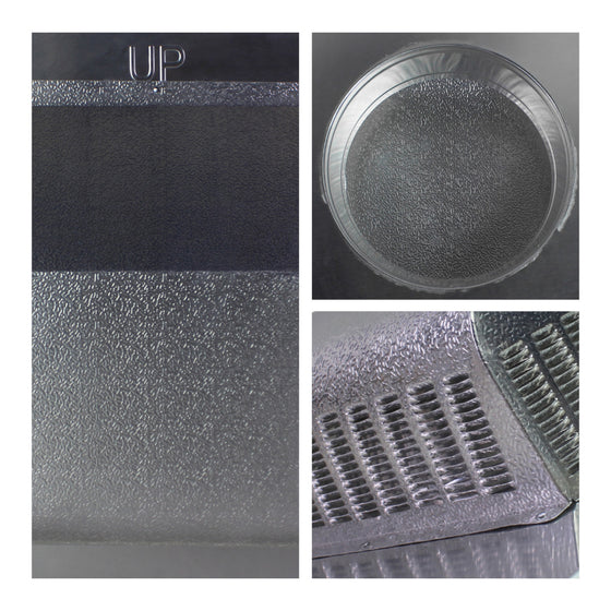 Detailed close-up of textured aluminum material, underside with vent opening, and vent screen.