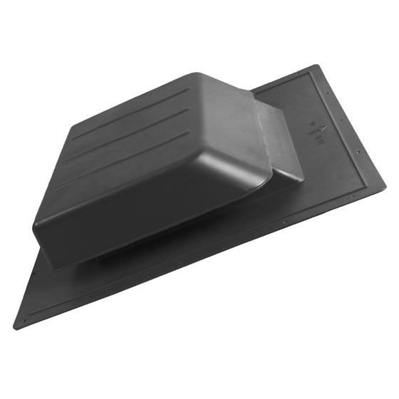 Angled view of the SBV 61 static vent in black finish.