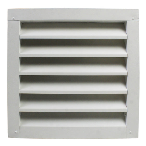Front view of the aluminum louver vent in white finish.
