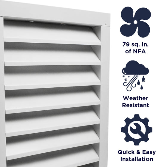 Features of the SGV1218 unit include providing 79 sq. inches of net free air, weather resistant construction, and a quick and easy install.