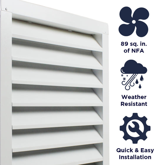 Features of the SGV1418 unit include providing 89 sq. inches of net free air, weather resistant construction, and a quick and easy install.