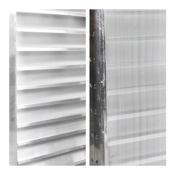 Detailed close-up of aluminum louvers and mesh screen.