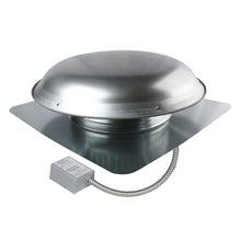 1,200 CFM aluminum roof mount exhaust fan in mill finish showing the adjustable thermostat with conduit.