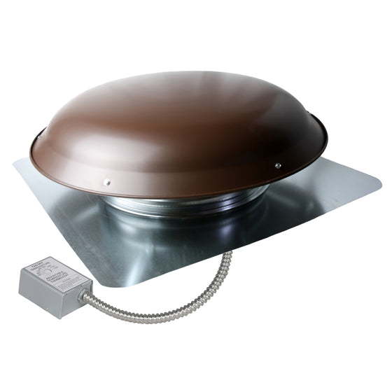 1,200 CFM steel roof mount exhaust fan in brown finish showing the adjustable thermostat with conduit.