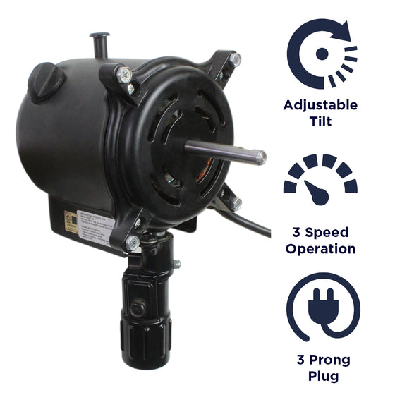 Features of the XE220350 include an adjustable tilt, 3 speed operation, and a 3 prong plug.