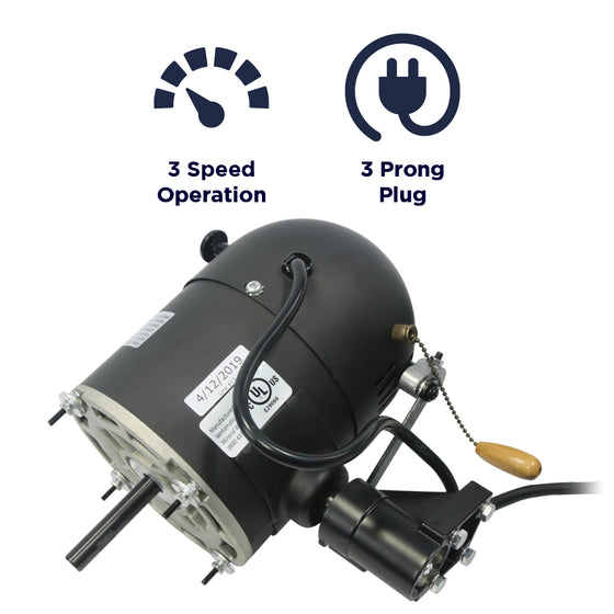 Features of the XE300351A include a 3 speed operation and a 3 prong plug.