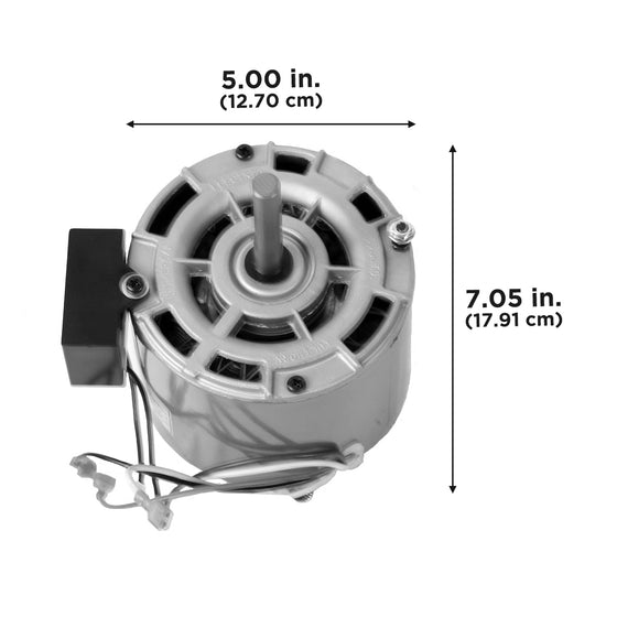"Dimensions - this motor is 5"" wide and 7.05"" deep when installed."