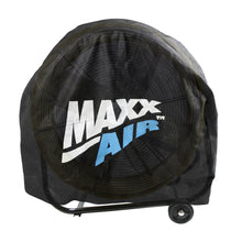 Cover showing the snug fit against a yellow Maxx Air 24 in. drum fan underneath.