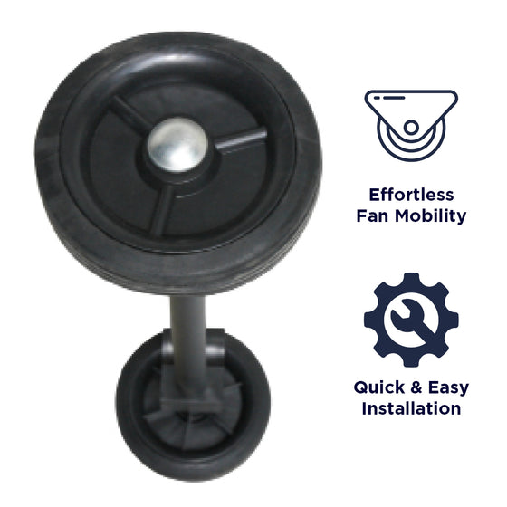 This wheel kit allows for easy fan mobility and transportation, and snaps on the cradle base for tool-free install.
