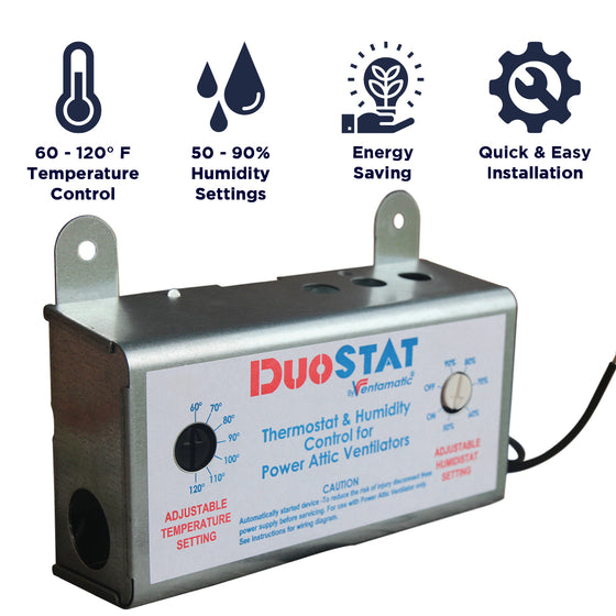 The XXDUOSTAT has 60 -120 degree Fahrenheit and 50 - 90% humidity settings, is an energy saving measure, and installs quickly to your existing power attic fan.