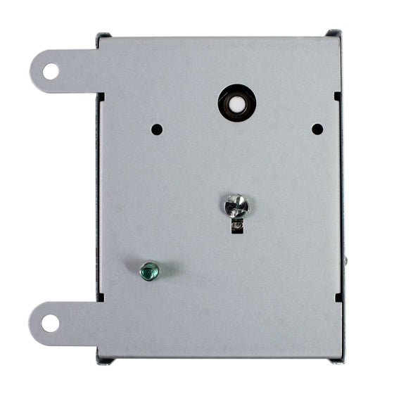 The back of the adjustable thermostat with pre-drilled holes for mounting to a wall or attic rafter.