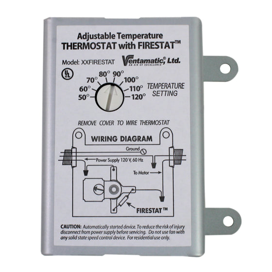 Front view of thermostat with wiring diagram instructions showing the fusible Firestat link.