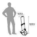 The dolly is 16.5 in. (41.91 cm) wide and 39 in. (99.06 cm) tall.