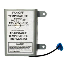 Front of DC thermostat with clearly marked temperature settings from 50 - 120 degrees Fahrenheit.