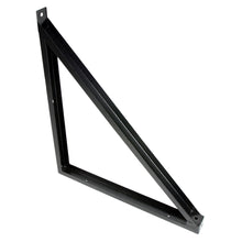 Angled view of triangular wall arm.