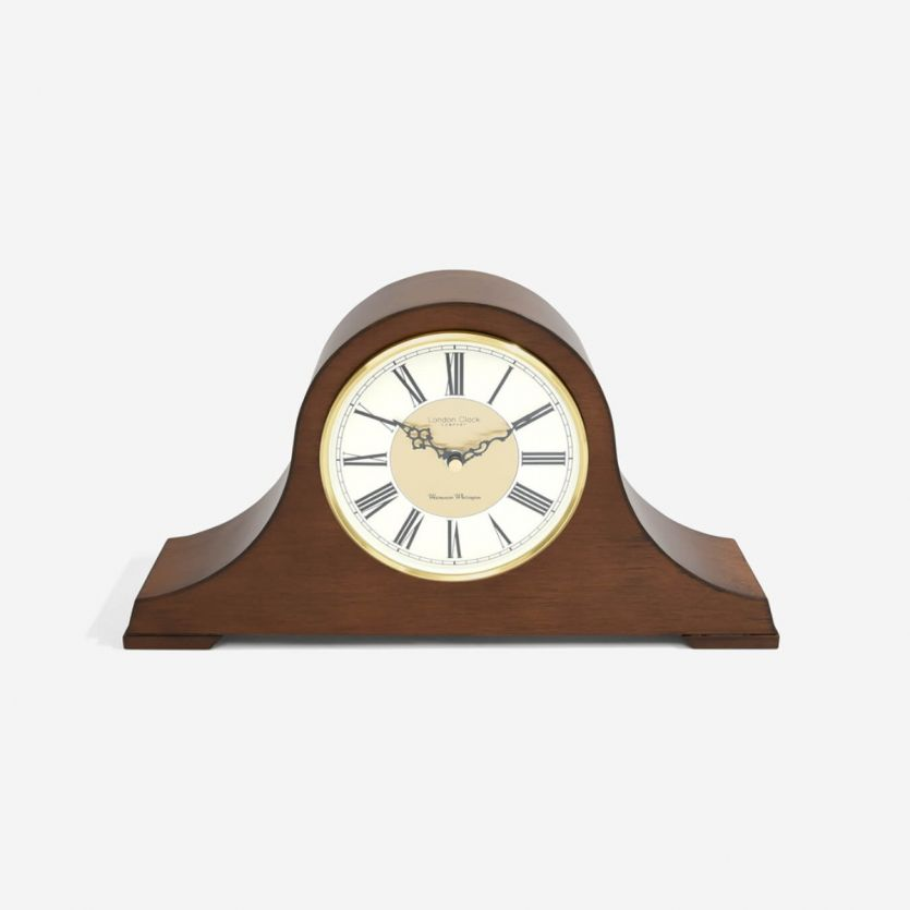 London Clock Company Napoleon Wood Veneer Mantel Clock
