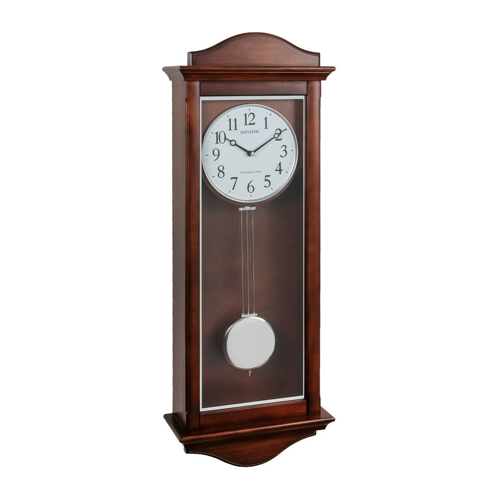 Rhythm Long Wooden Pendulum Wall Clock With Multiple Chimes