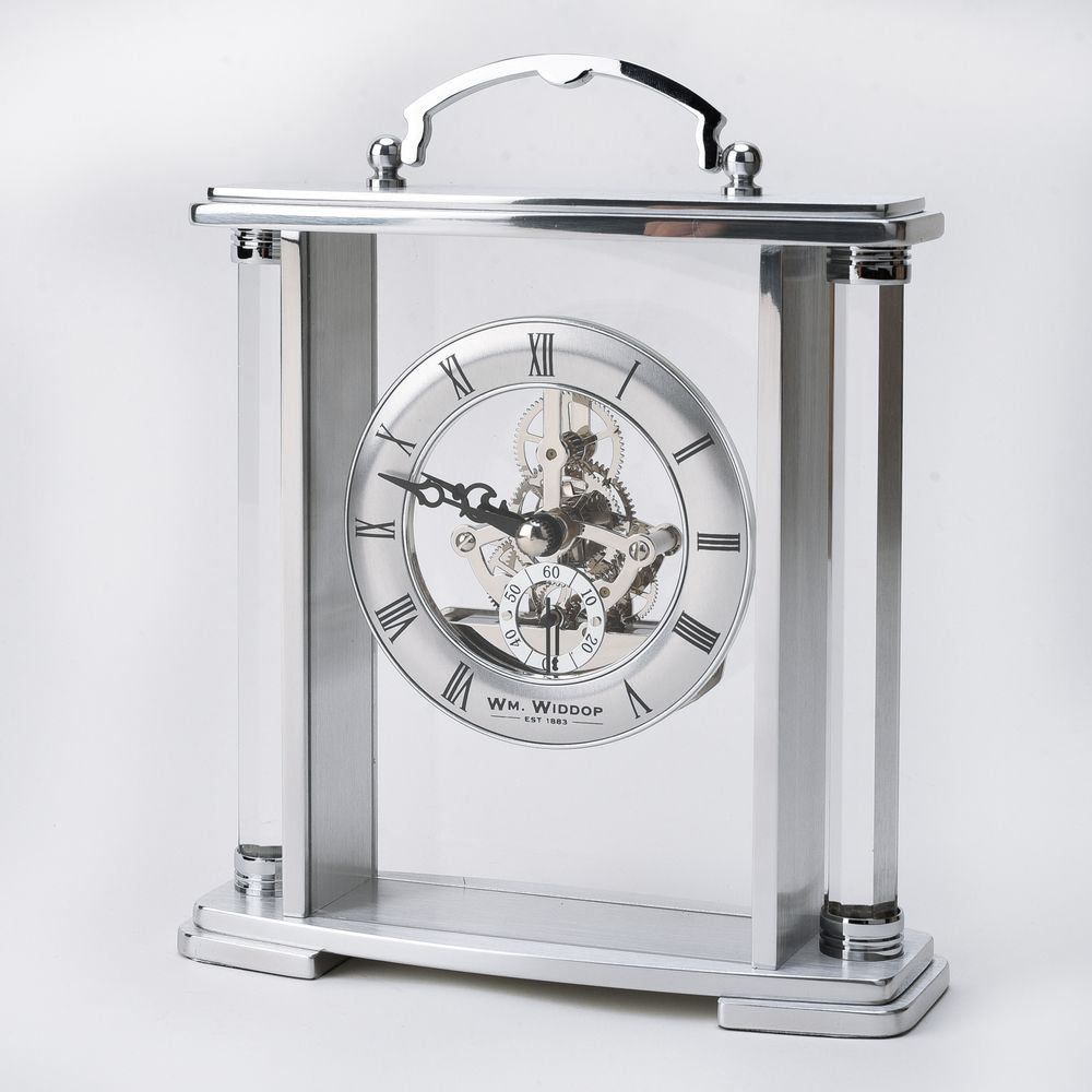 WM. Widdop Glass and Silver Aluminium Carriage Clock
