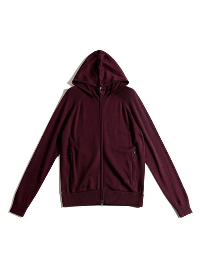 Unisex Eco Innovative Hoodie Sweater Burgundy Merino Wool x Refibra