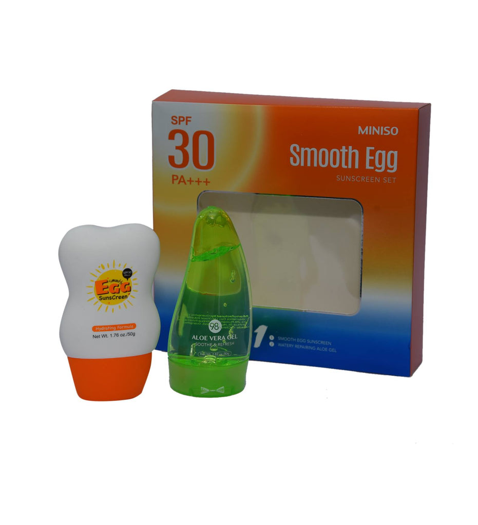 Miniso Smooth Egg Sunscreen Set (Aloe Vera Gel)