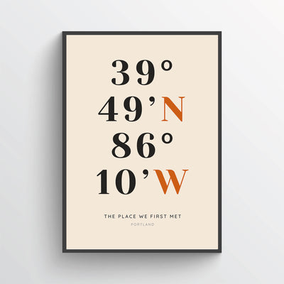 Coordinates Wall Art Personalized With GPS