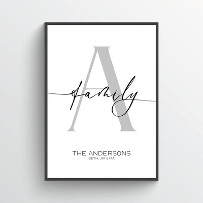 Letter A Poster Personalized Family Letters