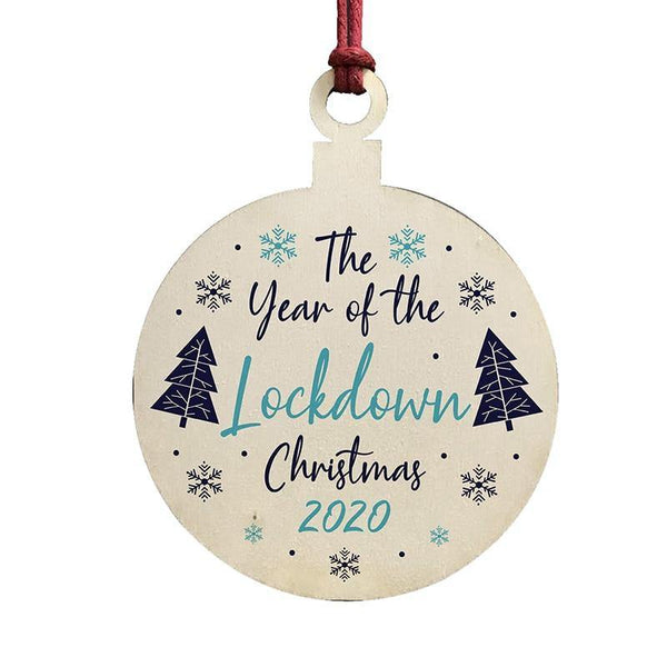Lockdown Wood Christmas Tree Ornaments Wooden Board Hanging Round Shape Decoration