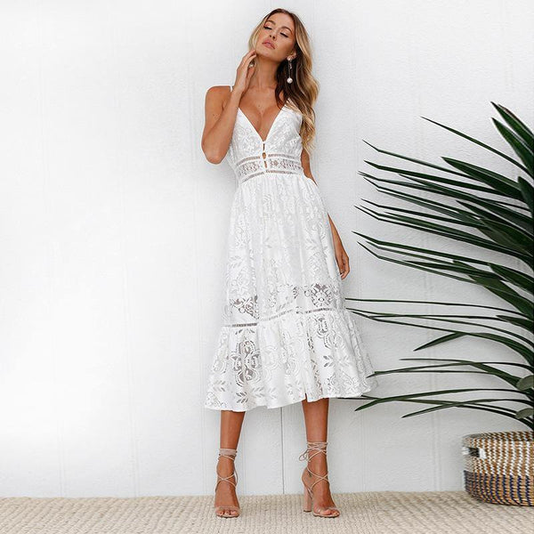 Lace Halter Long Dress