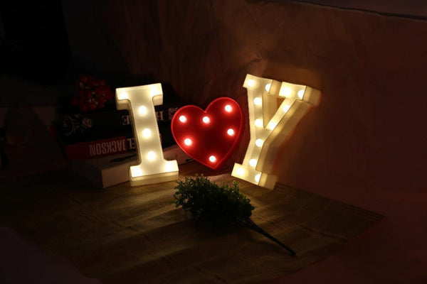 26 Letters White LED Night Light Marquee Sign Alphabet Lamp Valentine Gift