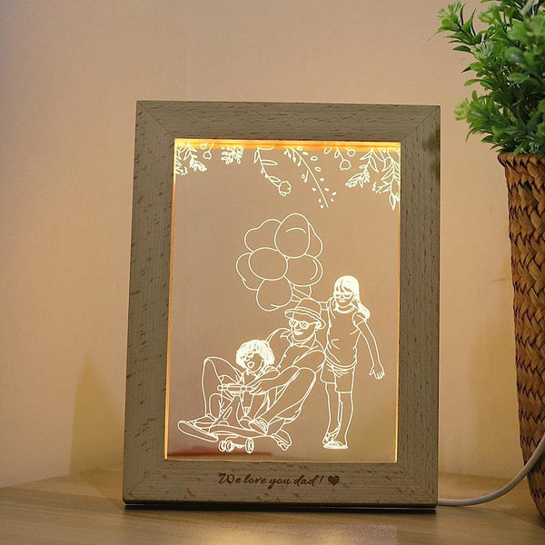 Customized Wood Photo Frame 3 Colours LED Night Light For Gift