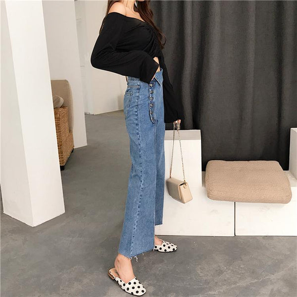 Irregularly Buckled High waist Denim Flared Pants - Sherozh