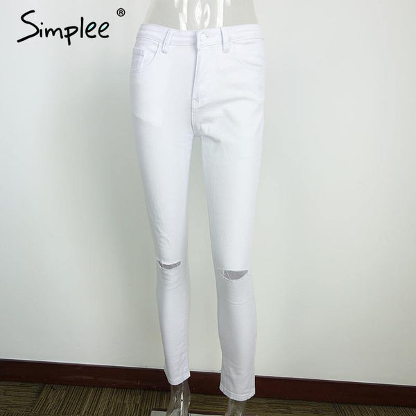HIGH WAIST CAPRIS FEMALE SKINNY BLACK CASUAL JEANS