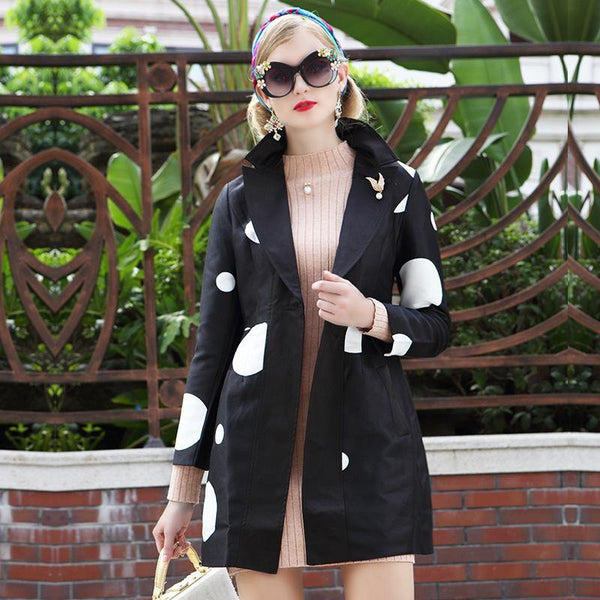 Autumn & Winter New Ladies Suit Collar Long-Sleeved Fashion Windbreaker Coat