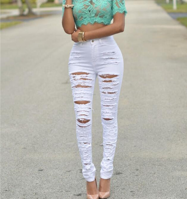 Destroyed Ripped Denim Jeans - Sherozh