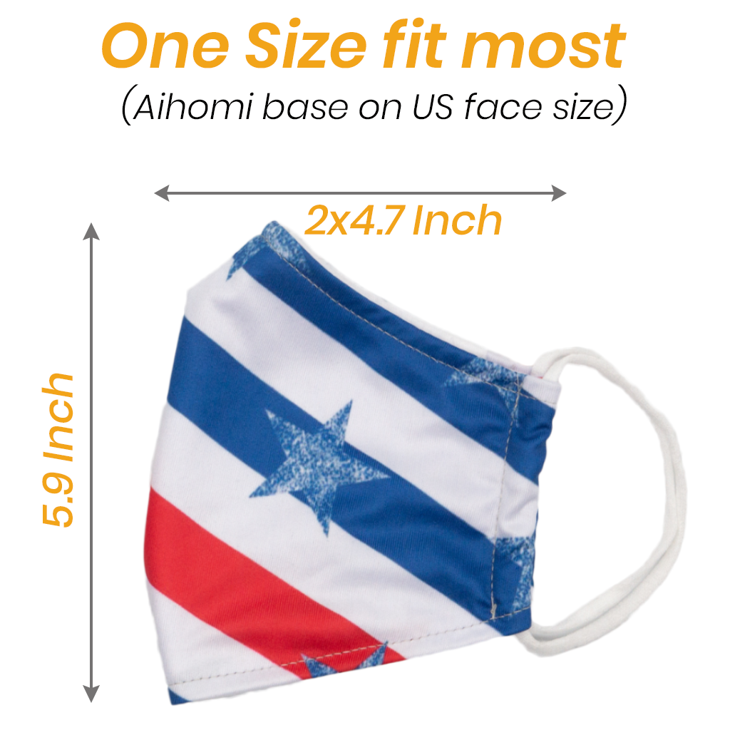 American Flag Faces-Masks Unisex Washable Reusable Face Shield