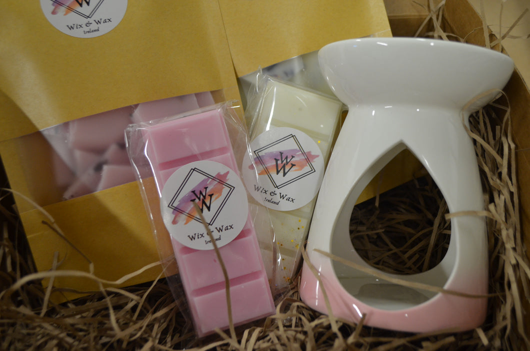 Wax Melt Gift Box with a pink theme and a wax burner