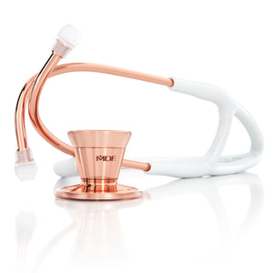 MDF® Classic Cardiology Dual Head Stethoscope with Stainless Steel Chestpiece and Headset (MDF797) -  Rose Gold and White