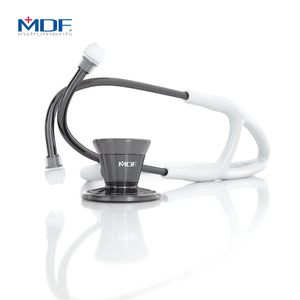 MDF® Classic Cardiology Dual Head Stethoscope with Stainless Steel Chestpiece and Headset (MDF797) - Perle Noire and White