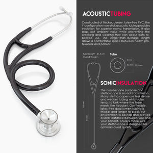 MDF® Classic Cardiology Dual Head Stethoscope with Stainless Steel Chestpiece and Headset (MDF797) - Black