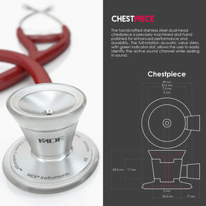 MDF® Classic Cardiology Dual Head Stethoscope with Stainless Steel Chestpiece and Headset (MDF797) - Burgundy
