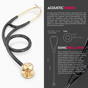 MDF® Classic Cardiology Dual Head Stethoscope with Stainless Steel Chestpiece and Headset (MDF797) - Gold and Black