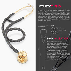 MDF® Classic Cardiology Dual Head Stethoscope with Stainless Steel Chestpiece and Headset (MDF797) - Gold and Black Glitter
