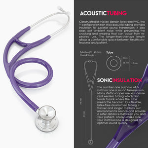 MDF® Classic Cardiology Dual Head Stethoscope with Stainless Steel Chestpiece and Headset (MDF797) - Purple