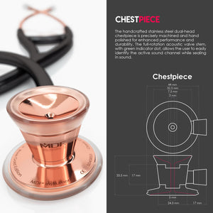 MDF® Classic Cardiology Dual Head Stethoscope with Stainless Steel Chestpiece and Headset (MDF797) - Rose Gold and Black