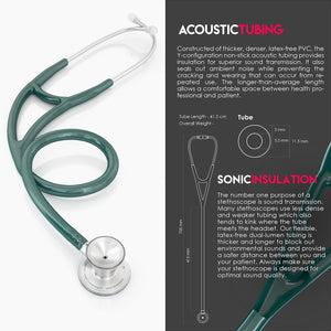 MDF® ProCardial® C3 Cardiology Stainless Steel Dual Head Stethoscope with Adult, Pediatric, and Infant-Neonatal Convertible Chestpiece (MDF797CC) - Emerald Green