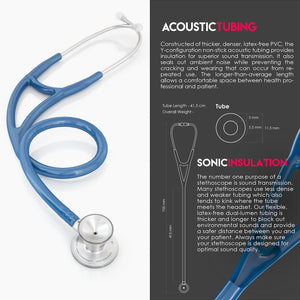 MDF® ProCardial® C3 Cardiology Stainless Steel Dual Head Stethoscope with Adult, Pediatric, and Infant-Neonatal Convertible Chestpiece (MDF797CC) - Royal Blue