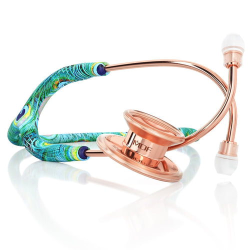 MDF® MD One® Stainless Steel Dual Head Stethoscope (MDF777) - Rose Gold and Peacock