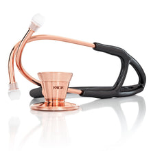Load image into Gallery viewer, MDF® Classic Cardiology Dual Head Stethoscope with Stainless Steel Chestpiece and Headset (MDF797) - Rose Gold and Black